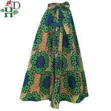 Wiosna jesień zima afrykańska spódnica damska damskie długie spódnice druk dashiki bazin riche africanclothing szata femme Plus rozmiar