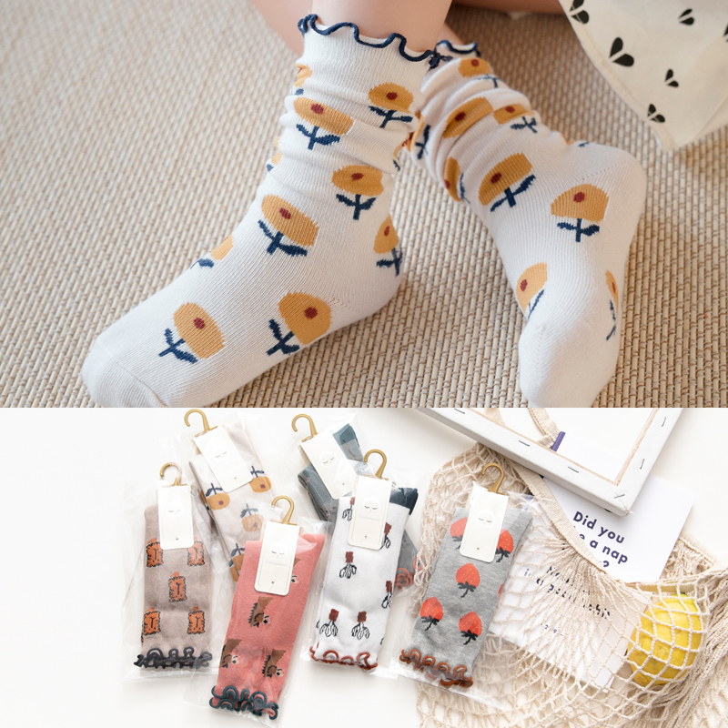 High Quality Kids Girls Knee High Socks With Print Floral For Children Spring Summer Toddle Cotton Long Socks 1-12y