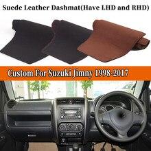 Akcesoria samochodowe stylizacja zamszu Dashmat pokrywa deski rozdzielczej mata na deskę rozdzielczą dywan dla Suzuki Jimny 1998-2017 2005 2009 2012 2015