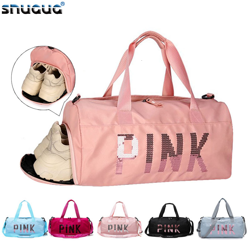 Sequins Design Pink Sport Bag Shoe Compartment Waterproof Gym Bag Women Fitness Couple Travel Handbag For