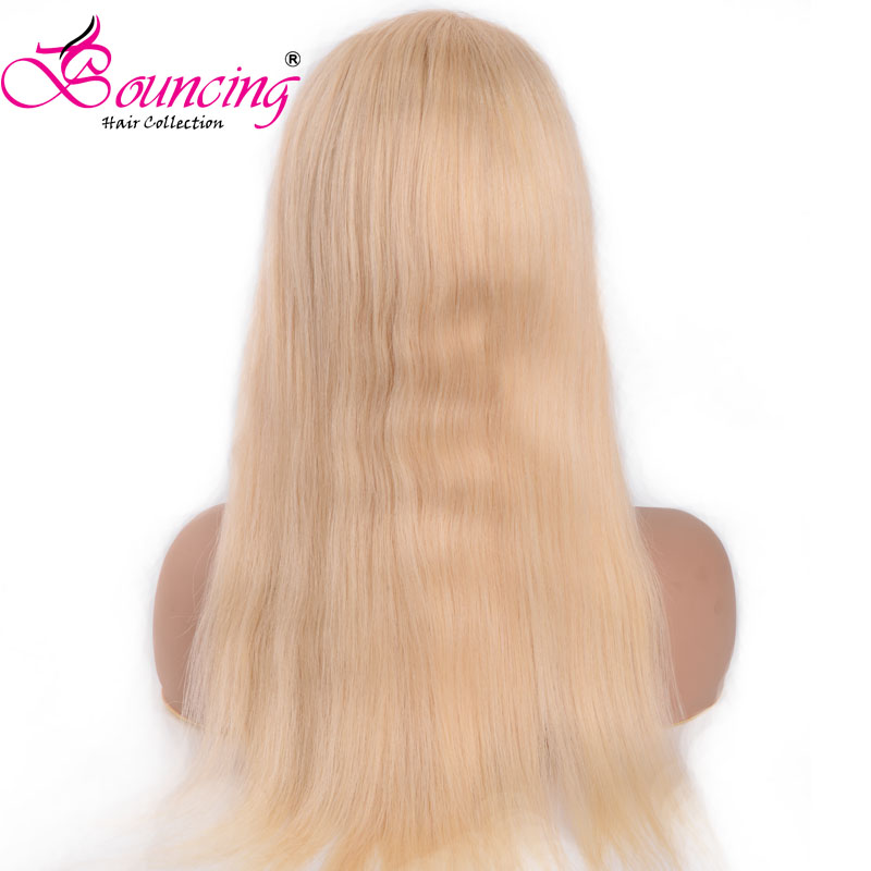 Wigs Full-Lace Baby-Hair Human Straight Brazilian Bouncing with for Woman 613-Color Pre-Plucked