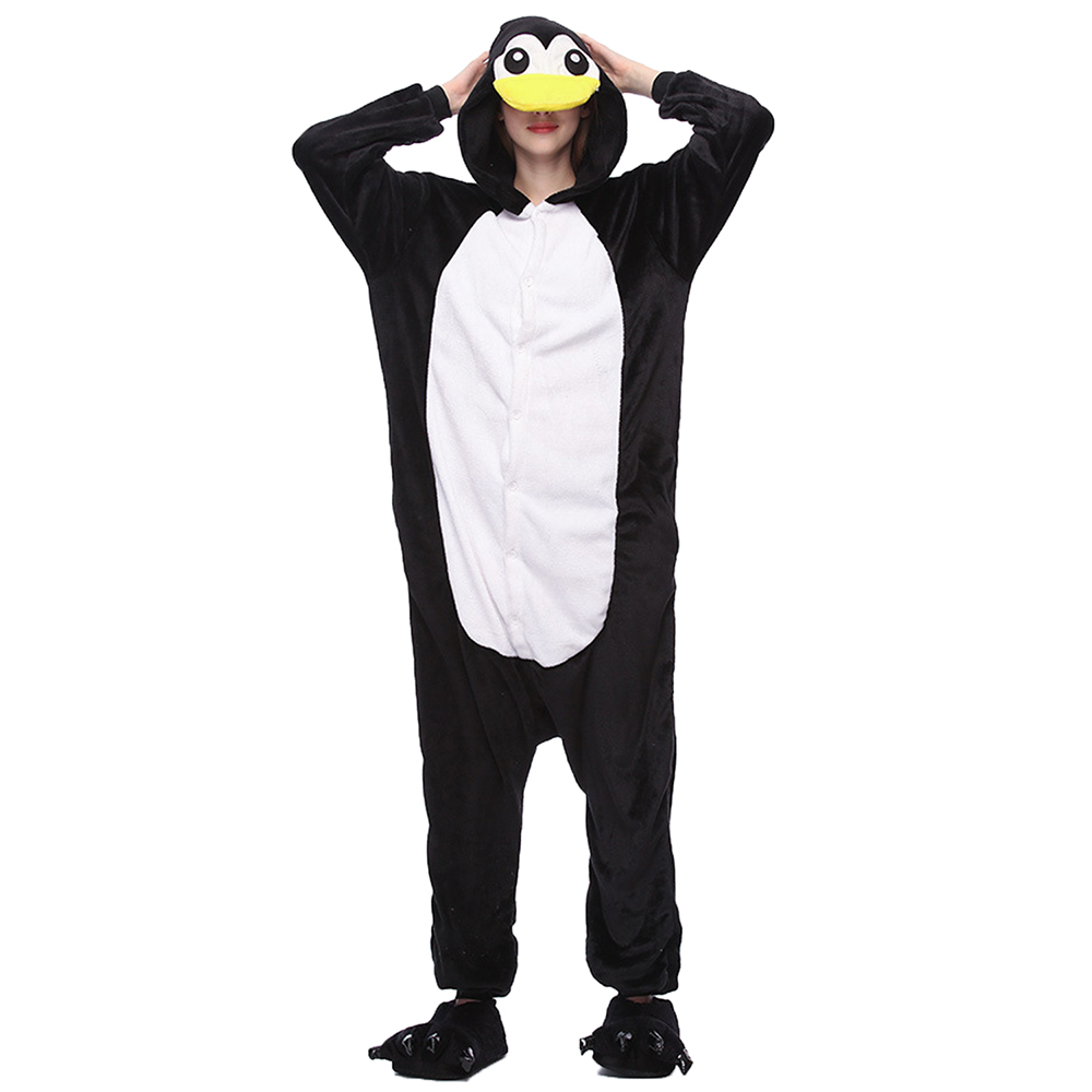 Pajamas Adult Onesie Women Pyjamas Pijama Penguin Onesies For Adults Winter Sleepwear Onepiece 2019