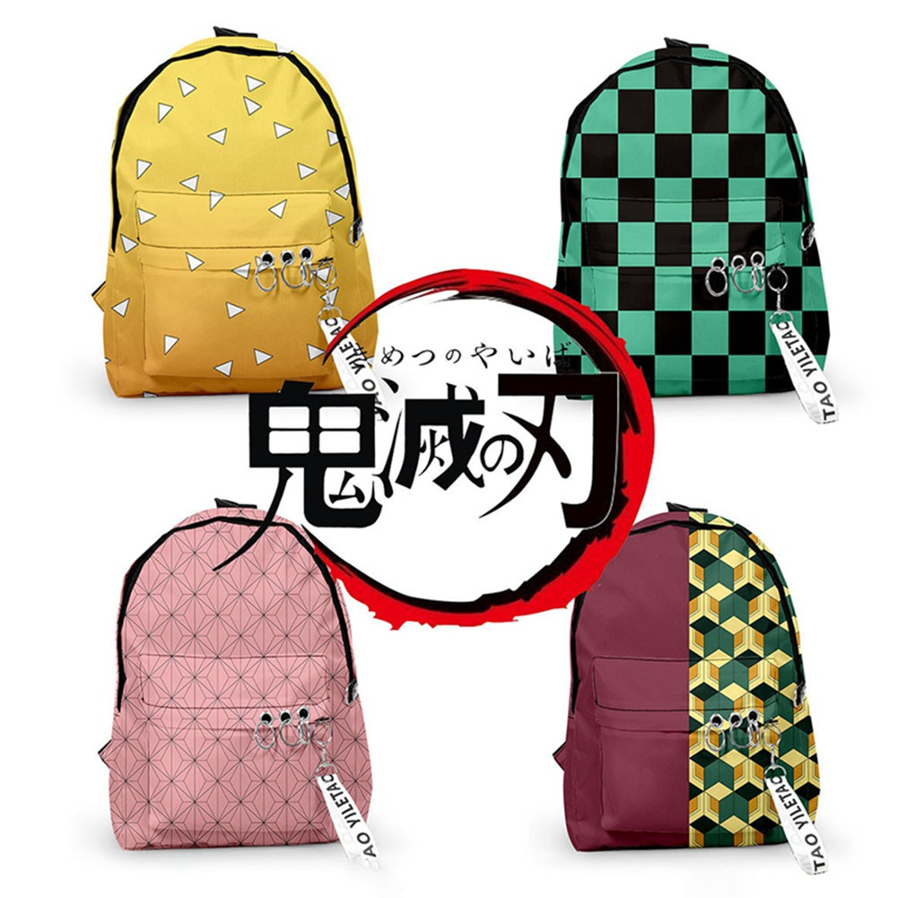 Student Backpacks Satchel Slayer Shoulders Kimetsu Anime No-Yaiba Casual Demon title=