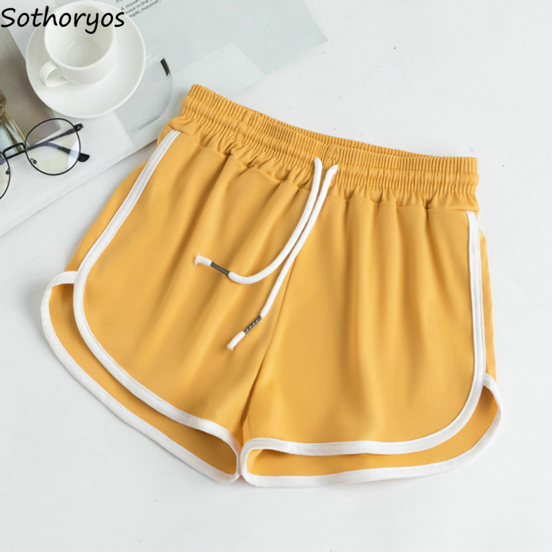 Shorts Women Summer S-5XL Drawstring Elastic-waist Loose Workout Stripe Korean Style Females Wide-leg Fashion Simple Chic New
