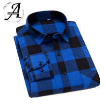 100% Cotton Blue Flannel Shirt Men Slim Fit Plaid Casual shirts Long Sleeve Winter Male Shirts(China)