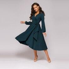 Для женщин Винтаж пояса повязки деловая модельная одежда с длинным рукавом сексуальный v-образный вырез Однотонная повседневная обувь трапециевидные вечерние платье осень новое модное платье