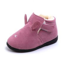COZULMA Baby Girls Warm Plush Lining Ankle Boots Winter Shoes Kids Boys Hook & Loop Snow Rabbit Ear Size 21-25