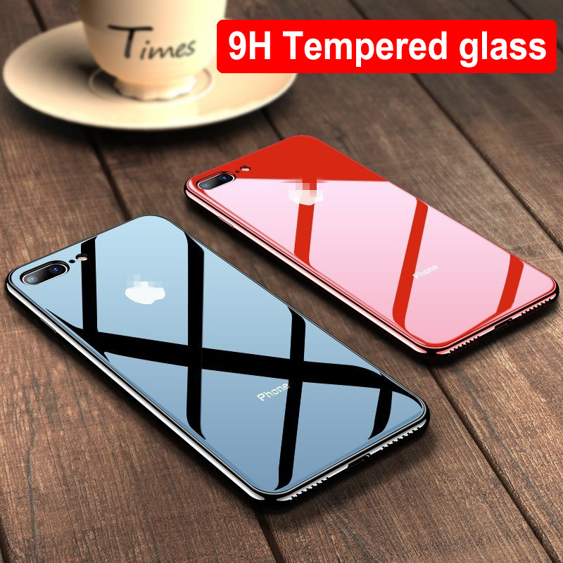 Tempered Glass Luxury Plating TPU Phone Case for Apple iPhone X XR 11 Pro Max XS Max 7 8 6 6S Plus Slim Cover Coque for iPhone 7