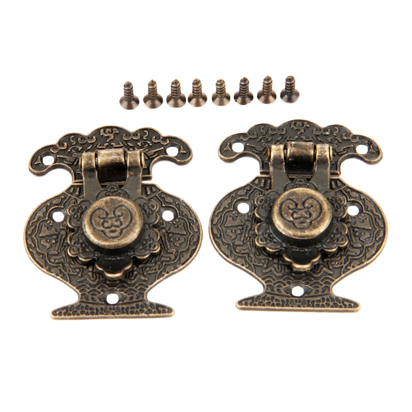 2Pcs Wooden Jewellery Box Vase Buckle Metal Box Hasp Latch Lock Decorative Hasp Antique Bronze Pattern Carved 40mmx51mm