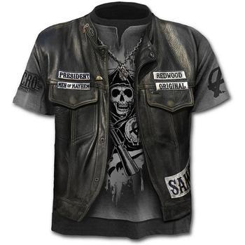 2020 New Fake Jacket Print T-Shirt Skull 3d T-Shirt Summer Trendy Short Sleeve T-Shirt Top Men/Female Short Sleeve Top цена 2017