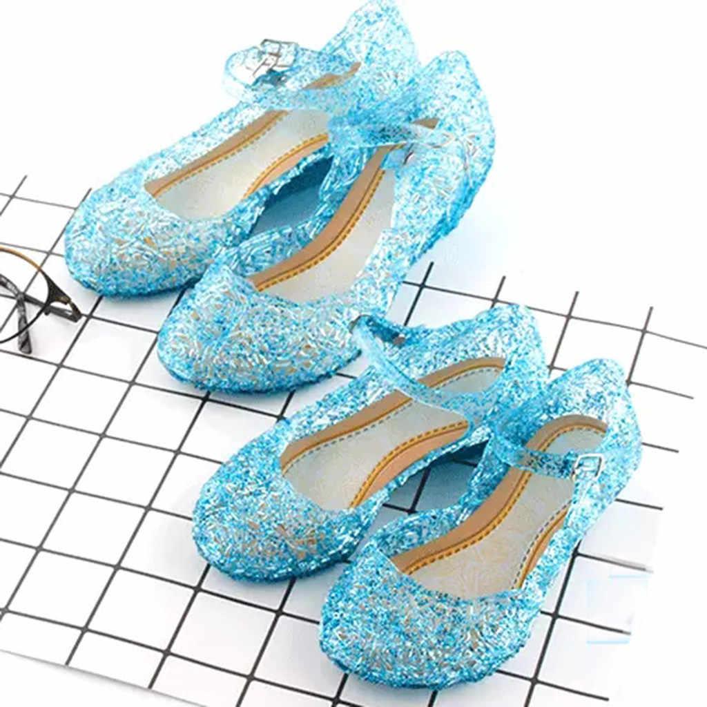 נסיכת אנה אלזה נעלי סינדרלה קריסטל תלבושות נעלי תינוק בנות קוספליי תלבושות סנדלי מסיבת נסיכת אלזה נעלי בנות