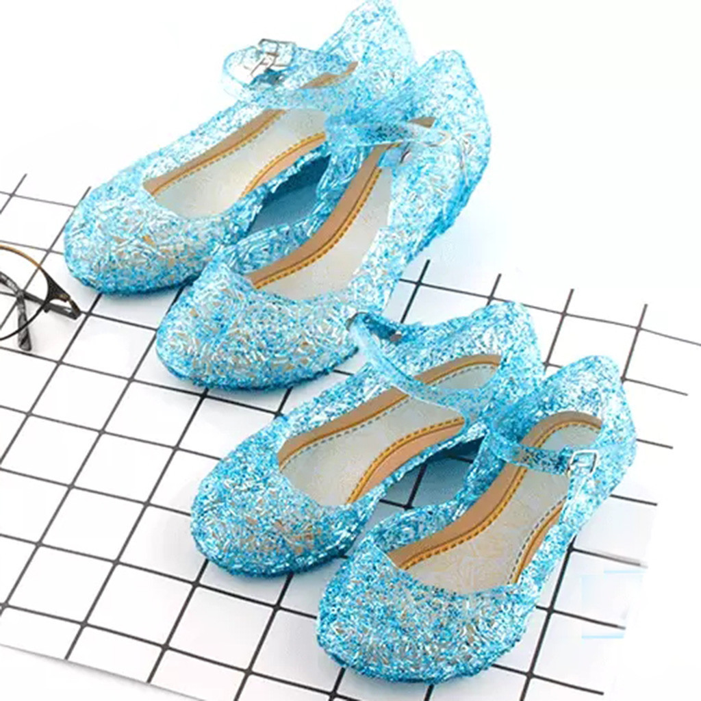 Princess Elsa Shoes For Girls Cinderella Crystal Costume Shoes Baby Girls Cosplay Costume Sandals Party Princess Anna Elsa Shoes