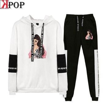 Ariana Grande sports wear for women gym 2 Piece Set Women Hip Hop Hoodies Sweatshirts  Fashion Cool Hooded Casual Sport Suit - discount item  40% OFF Women's Sets