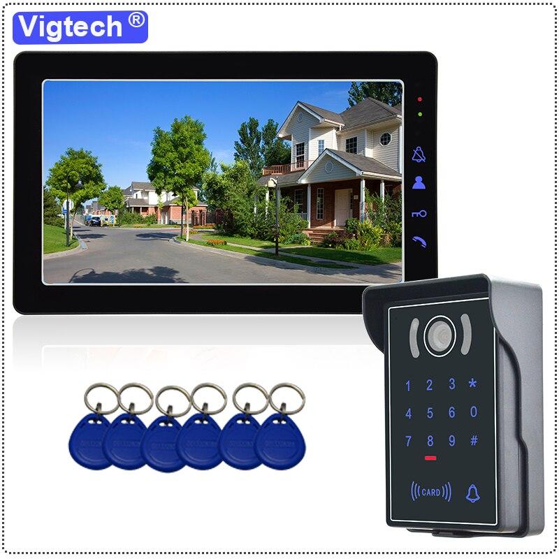 """9 """"com fio sistema de vídeo porteiro campainha visão noturna ir câmera segurança ip65 passwordremote desbloquear cartão identificação controle acesso"""