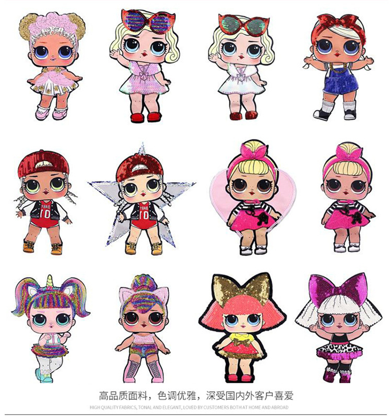 Fashion Girl Lol Clothes Patch Cute DIY Transfers Vynil Heat Transfer Ironing Stickers T-shirt Thermal Patches For Clothing
