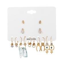 Bohemian Moon Star Pendant Stud Earrings Set For Women Vintage 7Pair/Sets Blue Stone Geometry Gold Earring Sets Female Jewelry