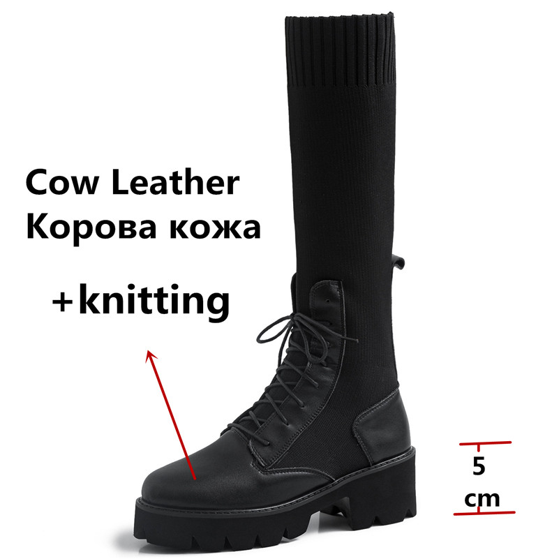 Dilalula New Winter Warm Women Mid Calf Boots Ladies Martins Shoes Woman Real Leather Casual Dating Knitting Short Ladies Boots - 4