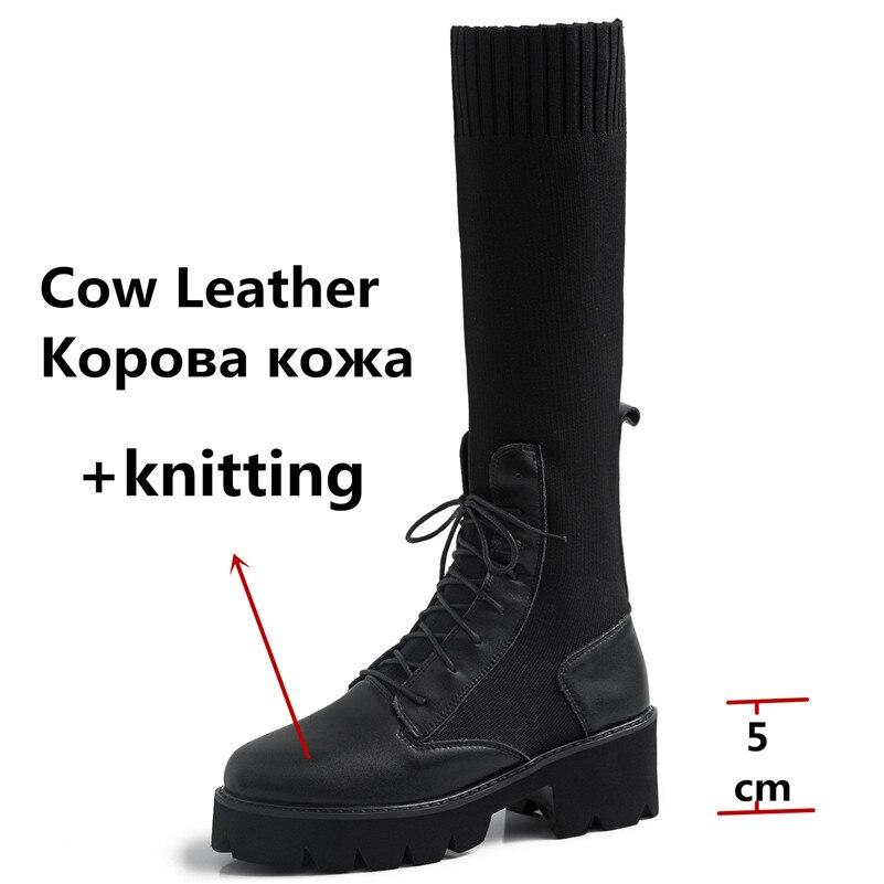 Lenksien beknopte stijl wiggen platform patchwork puntschoen lace up vrouwen pompen natuurlijke lederen punk dating casual schoenen L18 - 4