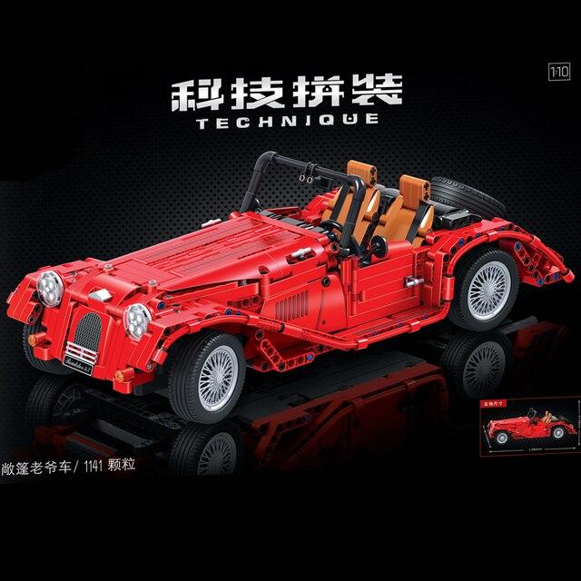 1141PCS High-Tech Creator Classic Vintage Convertible Car Building Blocks Sets Bricks Model Kids Toy For Children City 1