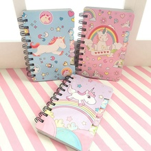 1PC Cute Cartoon Unicorn Hard Cover Coil Notebook Kawaii Planner Pupils Notepad Cute Line Inner Page Stationery Random Color random paris cover notebook 30sheets