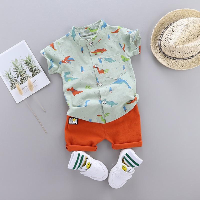 Cute Toddler Boy Summer Set 2021 New Cartoon Dinosaur Print Short Sleeve Shirt + Pants for Kid Baby Boys Clothes 3