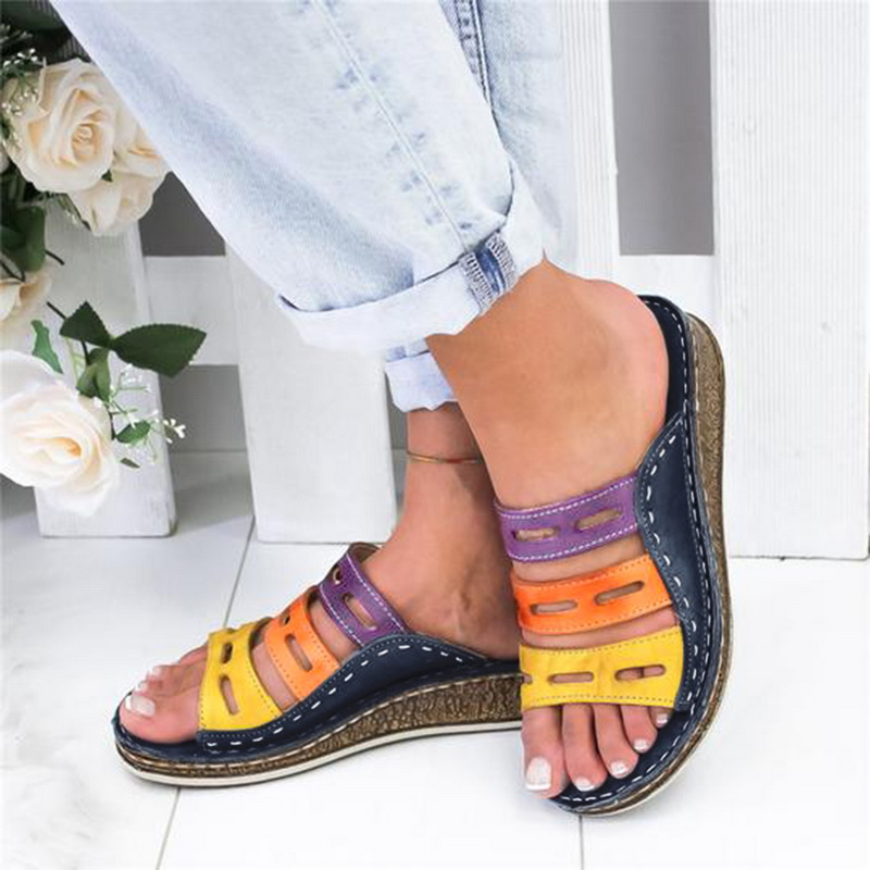 Women Slippers Slides Shoes 2020 Fashion Casual Thick Bottom Wedge Open Toe Chaussures Beach Slip On Soft Comfortable Shoes