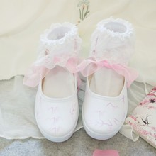 Hand-painted canvas shoes female Chinese style Mori girl Cosplay dance shoes Sweet Lolita Shoes sweet shoes f20 ks1807