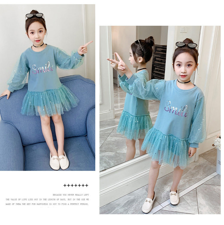 Boutique Kid Clothing 2020 Spring Little Girls School Dress Cotton O neck Sweater Dress Pink Long Sleeve Letter Dresses for Teen (9)