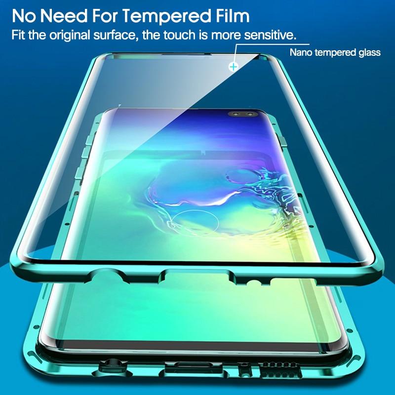 Doppelseitige Magnetische 360 Schützen Fall Für Samsung S10 Plus S10 s Gehärtetem Glas Metall für Galaxy Note 10 note10 + Pro Plus Fall