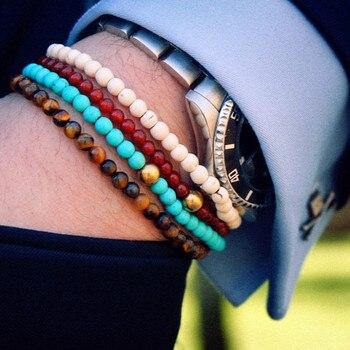 Ojos de tigre Buda brazaletes con piedras naturales cuentas elasticidad de la cuerda de la pulsera de los hombres Batman encantos pulseras brazalete
