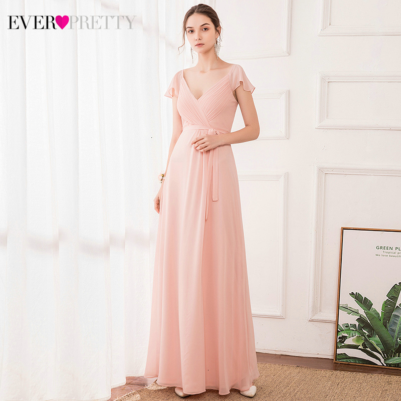Pink Evening Dresses Long Ever Pretty A-Line Cap Sleeve V-Neck Bow Sashes Elegant Chiffon Formal Party Gowns Abiye Gece Elbisesi