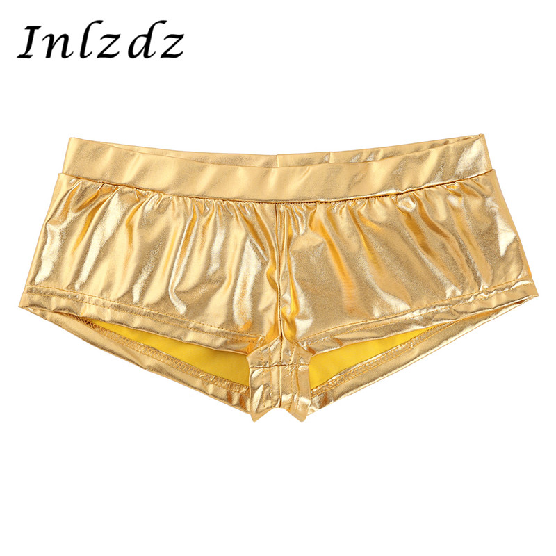 Women's Pole Dance Shorts Rave Clothes Shiny Faux Leather Low Waist Hot Sexy Shorts Pants For Dancing Raves Festivals Costumes