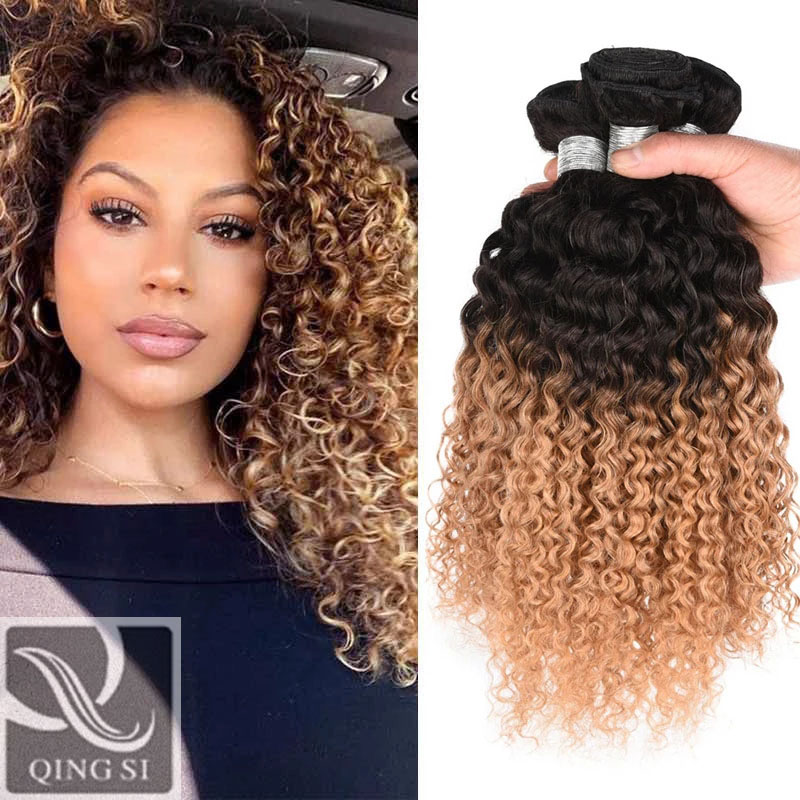 QING SI Hair Brazilian Human Virgin Hair Extension Afro Kinky Curly Wave 3 Bundle Deals Two Tone Tb/27 Color