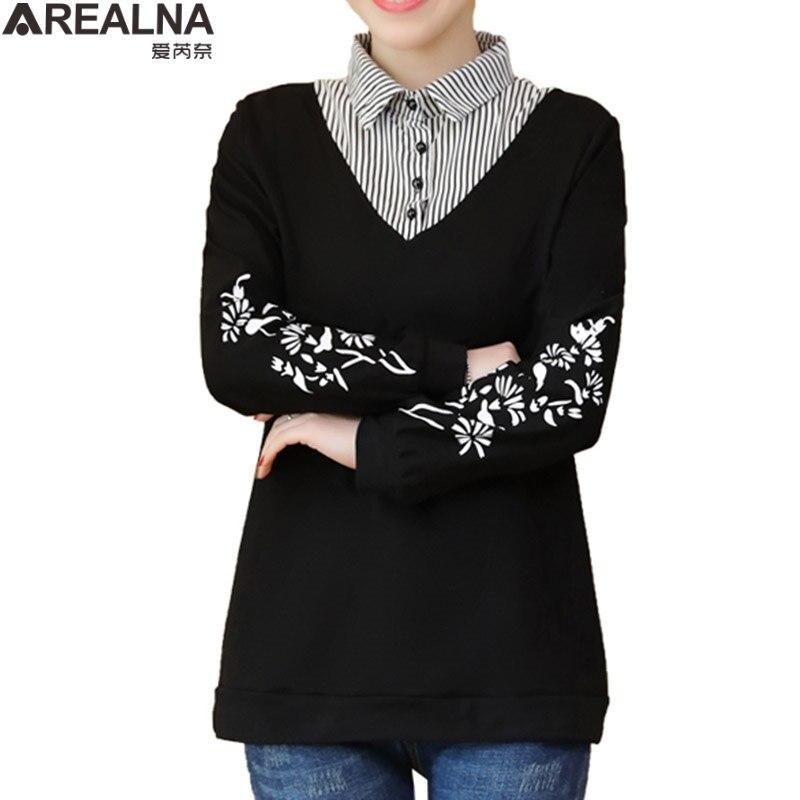 Autumn Plus Size Striped Spliced Women Sweatshirt Korean Hoodie Fake Two Pieces Casual Tracksuit Streetwear Sudadera Mujer L-5XL