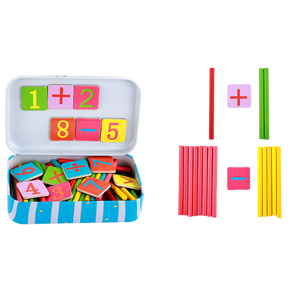 Children's Education Toys Wooden Counting Sticks Toys Baby Montessori Mathematical Baby Gift Arithmetic Learning Box(China)