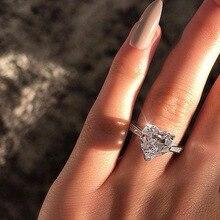 Новые модные свадебные кольца в форме сердца с кристаллами для женщин, гламурные серебряные медные кольца, обручальные кольца, ювелирные изделия, вечерние, подарки