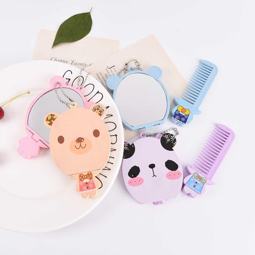 1 Pcs Nette Mini Tasche Make-Up Spiegel Cartoon Tier Große Gesicht Kleinen Spiegel Tragbare Make-Up Spiegel Kamm für frauen
