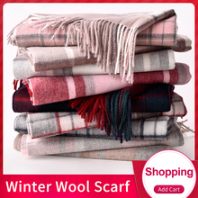 цена на Plaid 2019 Luxury Winter Scarf Women Thicken Warm Scarves Wool Scarf Female Wrap Pashmina Tassels Solid Color Scarf