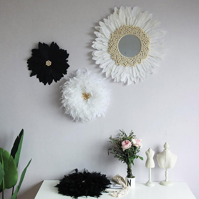 Ins Handmade Tapestry Feather Mirror Decoration Original Design Wall Hanging Home Mirrors