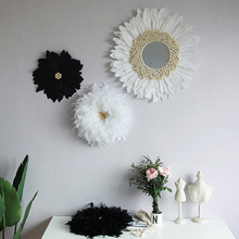 Ins Handmade Tapestry Feather Mirror Decoration Original Design Decoration Wall Hanging Home Decoration Wall Mirrors macrame wall hanging mirrors ins nordic wall mirrors hand made wall tapestry home porch mirrors for home makeup bath room