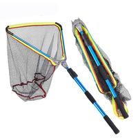Large Telescopic Aluminum Alloy Fast Folding Fishing Dip Net Network Trap Fly Hand Landing Nets For Fish Pole Handle Tool 2M