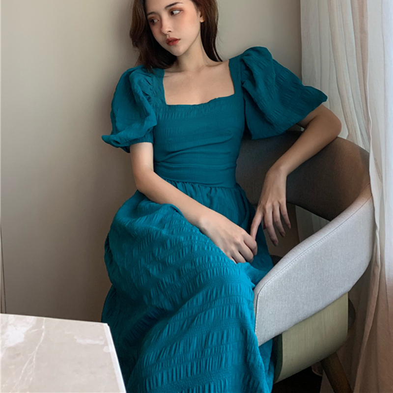 Puff Sleeve Dress Women Backless Vintage Boho Summer Sexy Party Dresses Square Neck Long Clothes 2020 Elegant Beach Clothing New