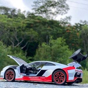 132 Модель автомобиля Audi GT Le Mans racing simulation, сплав, оттягивающий назад звук и светильник, дверь, Детская Металлическая Игрушечная машина, подаро...