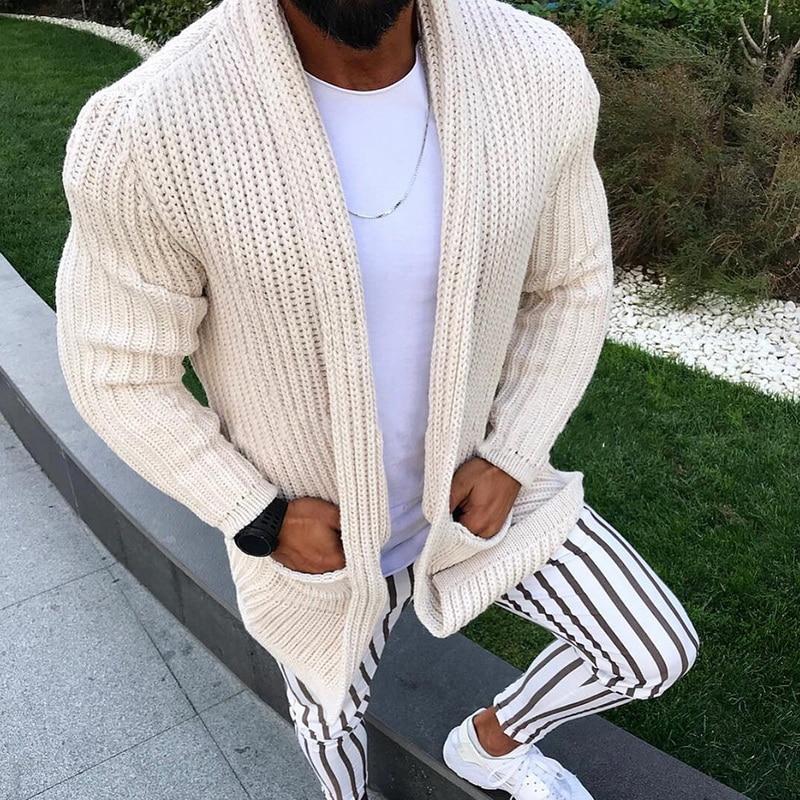 Fashion Knitted Warm Sweater Pockets Casual Men Sweatercoat Tricot Cardigan Coat Fall Winter Knitwear Slim Fit Men Tops Sweaters