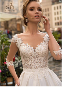 Image 4 - SoDigne 2020 July Wedding dress Long Sleeve Boho Bride Dresses For Women A Line Ivory Lace Appliques Satin Wedding Gown