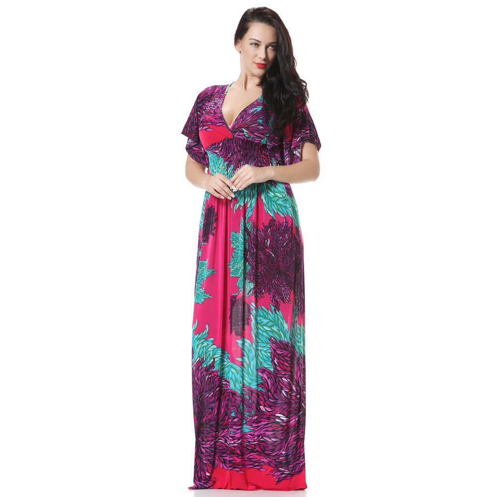 Vestido de fiesta de mujer ete 2019 vestido Maxi largo de Playa de verano de talla grande con estampado Floral bohemio vestido de fiesta de noche Elbise