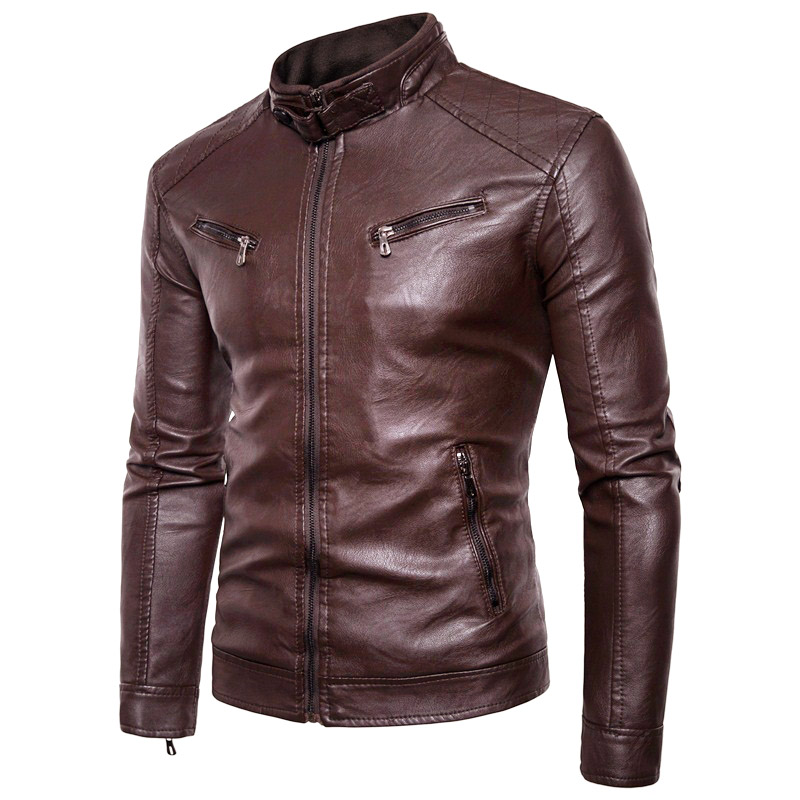 Men Leather Jacket Autumn New Motorcycle Causal Vintage Brand Coat Men Outfit Fashion Biker Zipper Pocket PU Leather Jacket Men