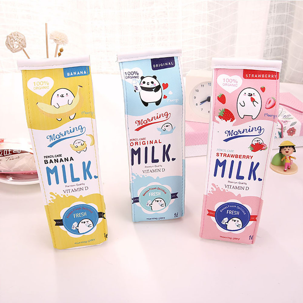 Creative School Pencil Case Cosmetic Bag Cute Animals Fruits Milk Box Pen Bag Kawaii Stationery Office School Supplies  #RJ1