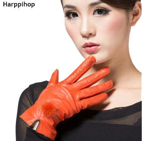 Women Leather Gloves Discount Color Genuine Leather Gloves Female Sheepskin Gloves Women's Thin Thermal Mink Hair Ball 2017 New