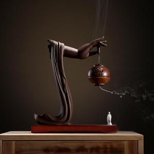 Image 2 - Yaratıcı geri akış tütsü brülör porselen buda el tütsü koni tutucu geri akış tütsü buhurdan budist el sanatları süsler